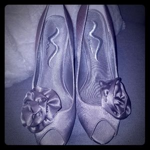 Nina silver satin heels with Rosette shaped accent